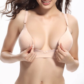 2017 Aiyibao Brand Maternity Women Nursing Bra 100% Cotton Front Button Bra For Pregnant Women Breast Feeding Underwear KF201