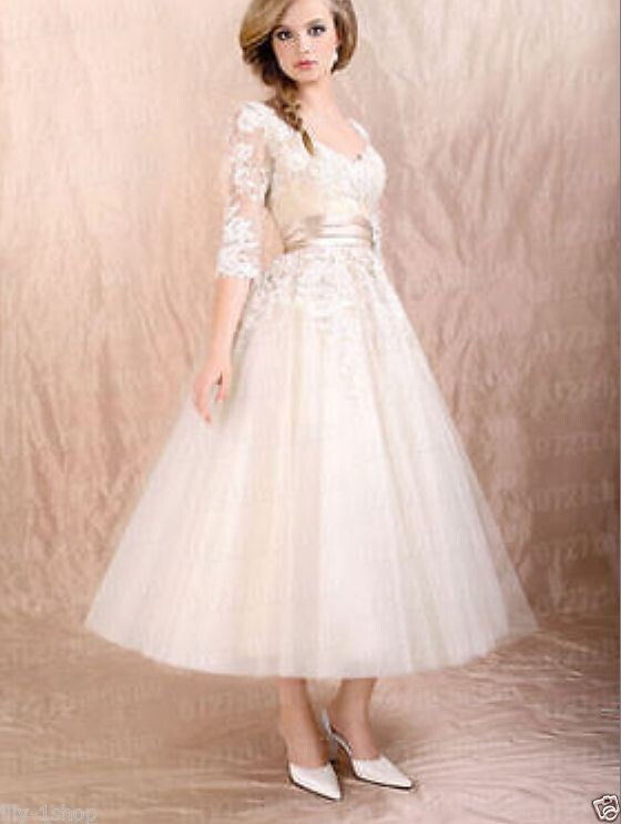 2015 fashion 3/4 sleeve lace applique ivory bridesmaid dress prom party formal standard size free shipping(China (Mainland))