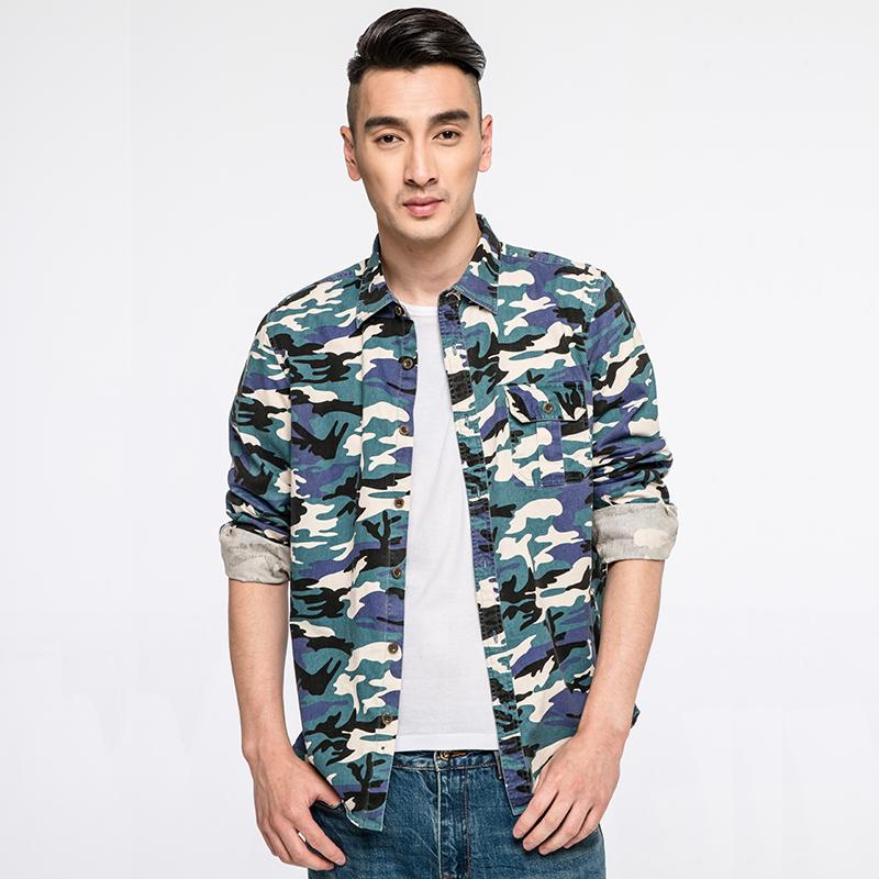 Brand new camouflage shirts men 100 cotton army green for Men s 100 percent cotton dress shirts