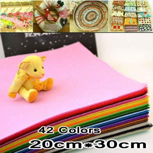 FREE SHIPPING 42Piece 30CM*20CM/piece Polyester Nonwoven Felt Fabric, DIY Felt Fabric Pack,1MM Thick.(China (Mainland))
