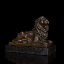 China feng shui statue Formidable lying male  Lion  Bronze  sculptures home decoration chinese guardian lions(China (Mainland))