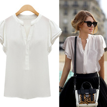 New 2016 Fashion Summer Wome Ladies Short Sleeve Chiffon Blouses blusas mujer Tops Office Shirts White Blouse chemise femme Z1