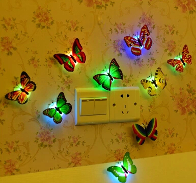 Colorful butterfly small night light decoration butterfly eye-lantern baby bedside lamp(China (Mainland))