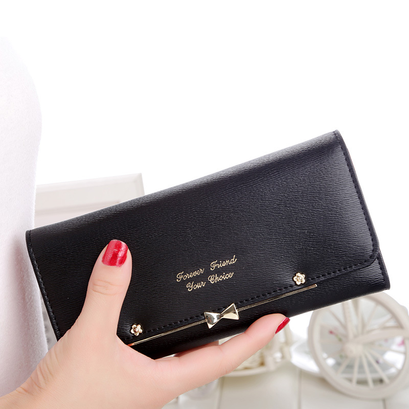 New Fashion 2016 Elegant Color Block Women's pu Leather Wallet Bow Long Wallet Clutch Purse Wristlet Carteira Portefeuille(China (Mainland))
