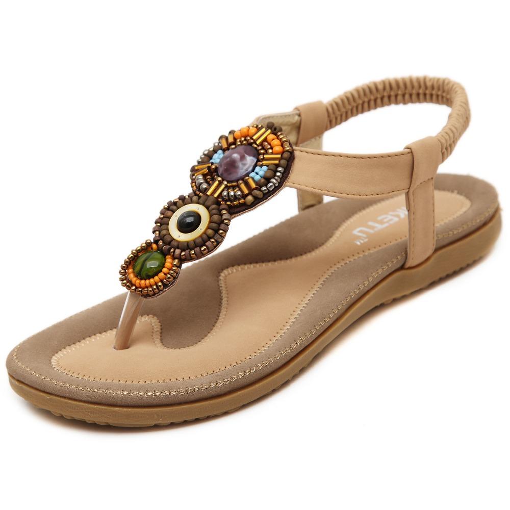 Big size 35-41 high quality ladies bohemia string bead women flats sandals fashion flip flops sandalias mujer