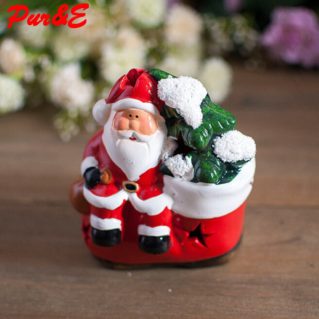 Creative crafts ceramic santa claus candlestick and his boots romantic candle holders oranments HDC0321(China (Mainland))