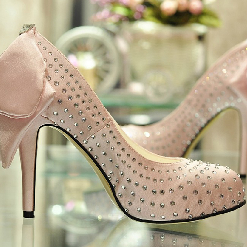 2015 New Fashion 4 inch Heel Pink Rhinestone Prom designer bridal shoes Wedding Party High Heel Shoes(China (Mainland))