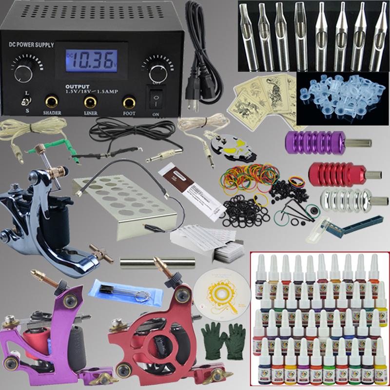 OPHIR Professional Tattoo Kit 3 Machines 40 Color Ink Pigment Power Needle 380pcs_TA005<br><br>Aliexpress