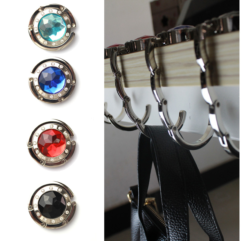 Folding Hook Bag Hanger Holder Foldable For Handbag Bag Purse Clothing Accessories with Rhinestone(China (Mainland))