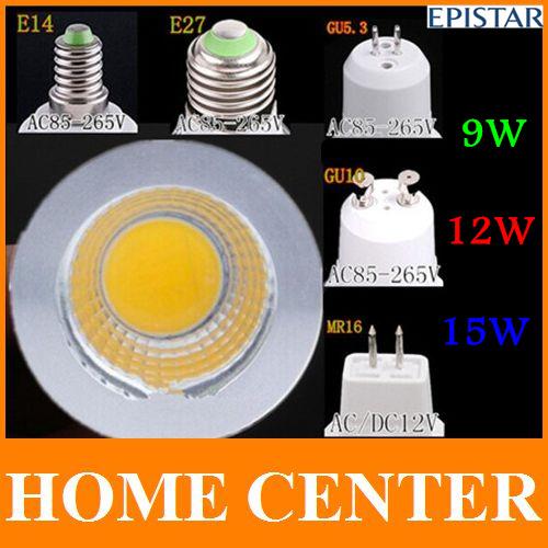 GU10 GU5.3 E27 E14 MR16 15W 12 W 9W Dimmable COB LED Sport light lamp led bulb warm cold white DC12V AC110V 220V 240V(China (Mainland))