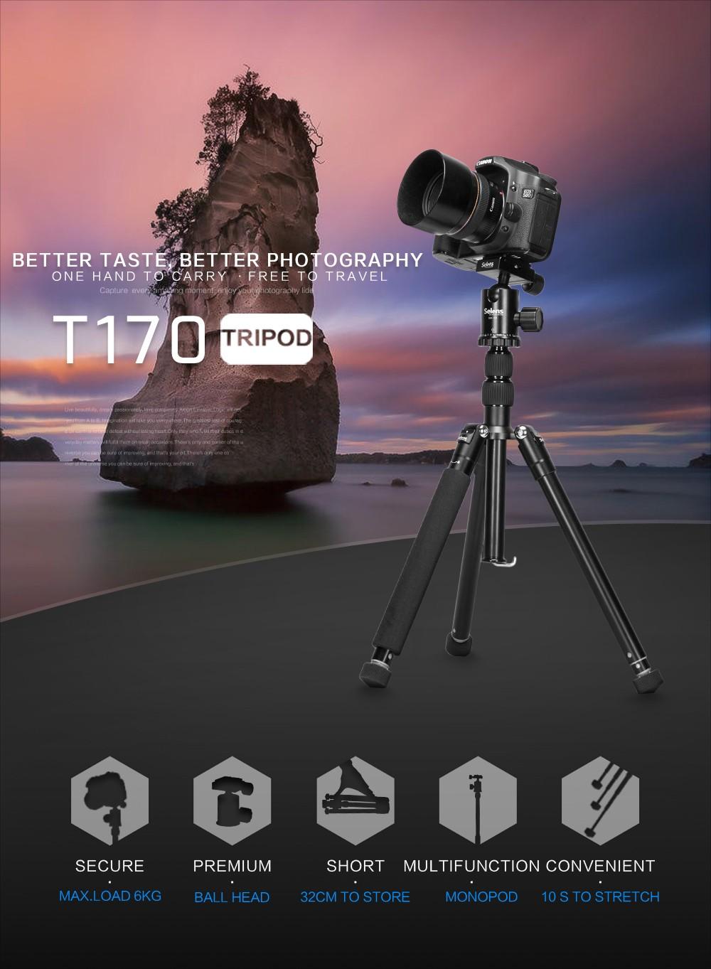 """ถูก Selens 150เซนติเมตร/62 """"สีดำมืออาชีพขาตั้งกล้องถ่ายภาพMonopodสำหรับกล้องDSLRแบบพกพาการเดินทางที่มีน้ำหนักเบาT Ripodeยืน"""