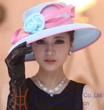 Free Shipping Women Hat Formal Hat Elegant Summer Hat Flower Girl Big Brim Hair Accessories Organza Flowers Fashion Hairwear