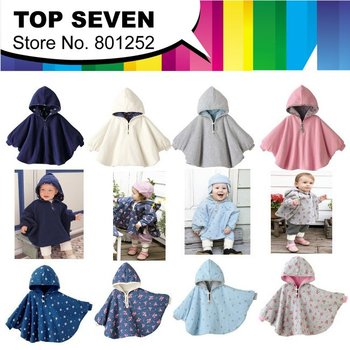 2013 New Arrive Retail free shipping Two-sided wear 3 color 2 sizes baby capes/jackets/cloaks baby romper  clothing