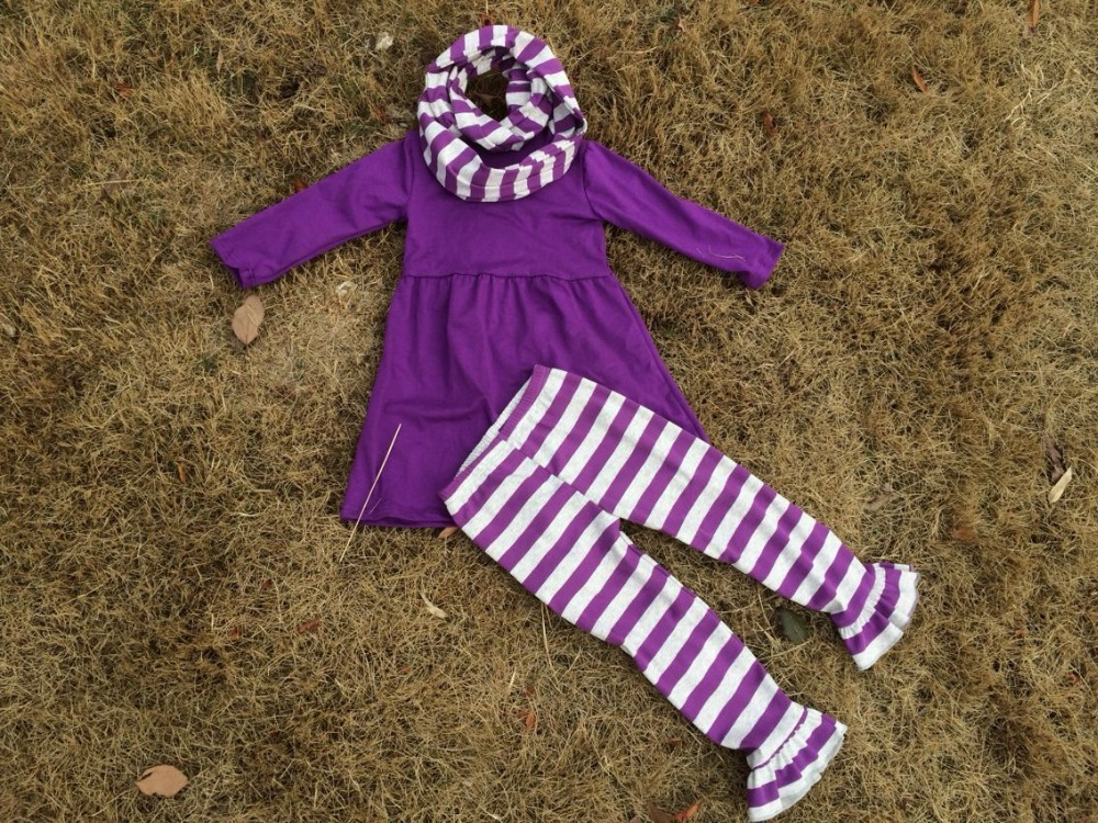2015 new baby girls dress purple and gray pant dress scarf outfits boutique outfits stripe dress pant set(China (Mainland))