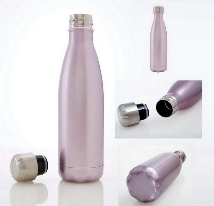 Free shipping Double Wall Vacuum Insulated Stainless steel Sports Water Bottle , Pink Champagne 500ml (17oz)(China (Mainland))