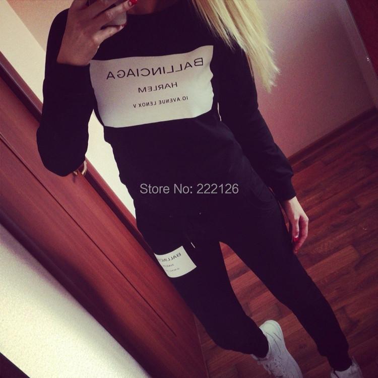 [FS01] Women Clothing Set Letter Print Sport Suit Tracksuit Sweatsuit Sweatshirts Female Hoodies Fast Ship - KAY FASHION POST STORE store