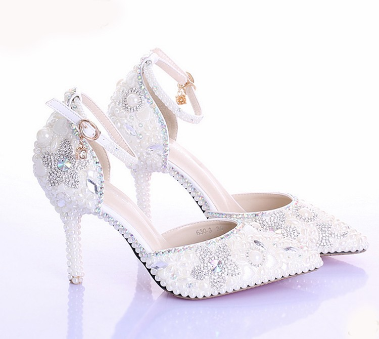 Sexy Pointed Toe Wedding Shoes Fashion Ivory Pearls Genuine Leather Party Prom Heels Ankle Straps Rhinestone Women Pumps