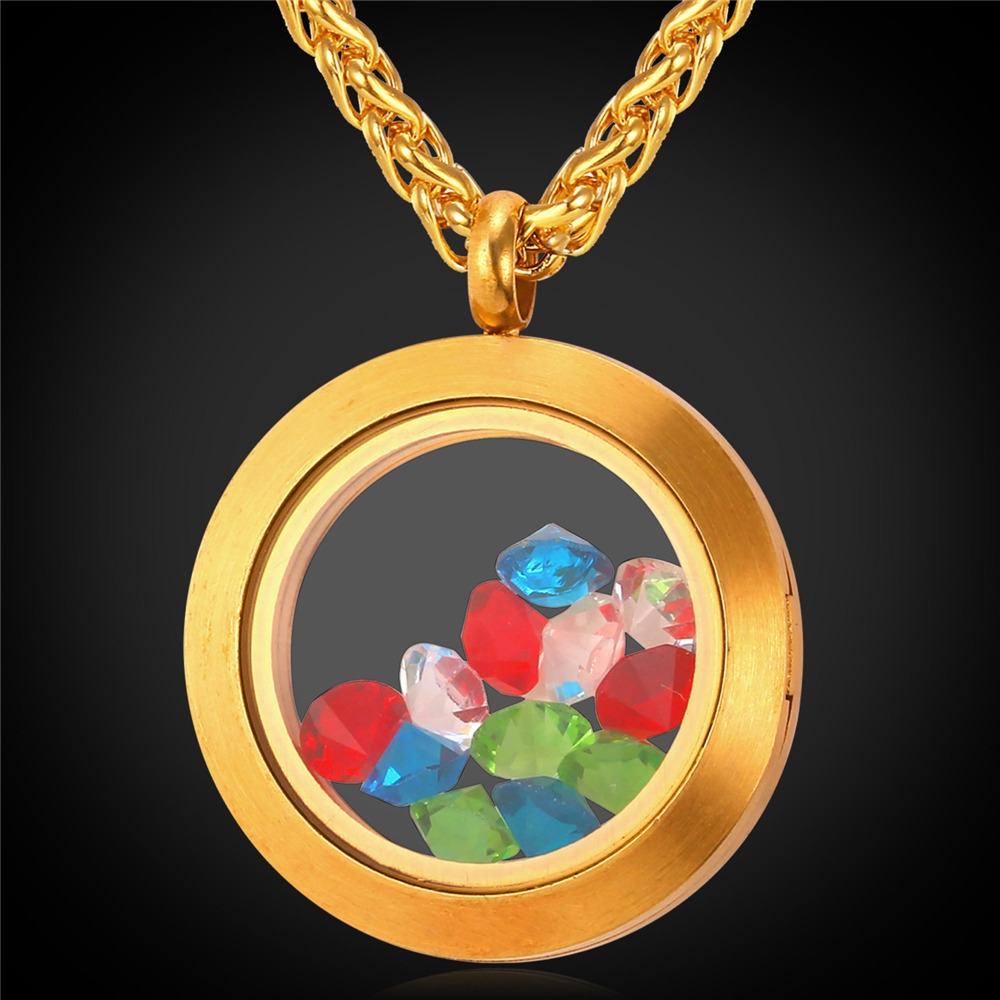 Valentines Day Gift Floating Locket Necklace Women Stainless Steel Chain Colorful Crystal Stone Memory Locket Necklace IP1723(China (Mainland))