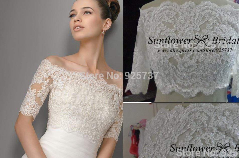 High Quality Lace Latest Design Elegant Bridal Bolero Jacket Half Sleeve Fast Shipping Wedding Dress Jackets