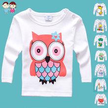 2015 cotton sz70~100 baby cartoon t-shirt  child tops tees children clothing boys girls long sleeve t-shirts(China (Mainland))