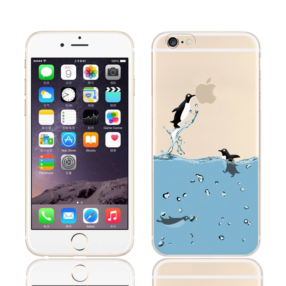 12 Styles Cartoon Penguin Cases for Iphone 6 6s 4 7 Inch Ocean Animal Mermaid Sea