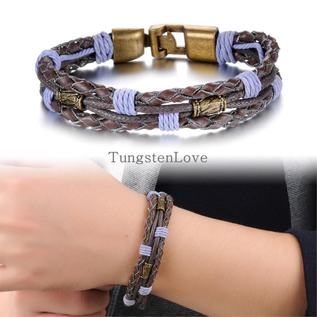 22cm New Punk Alloy Men's Bracelets Womens Bangles Genuine Leather Braided Purple Rope Multilayer Bracelets pulseira couro(China (Mainland))