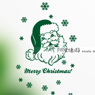 Santa wall stickers affixed to the glass door window shop mall store Christmas decorations collage New Year(China (Mainland))