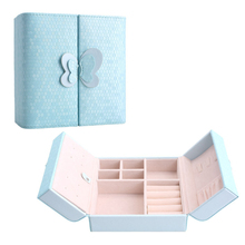 Leather Butterfly Travel Jewelry Display Organizer Storage Box for Earrings Rings Bracelet Necklace (Blue)(China (Mainland))
