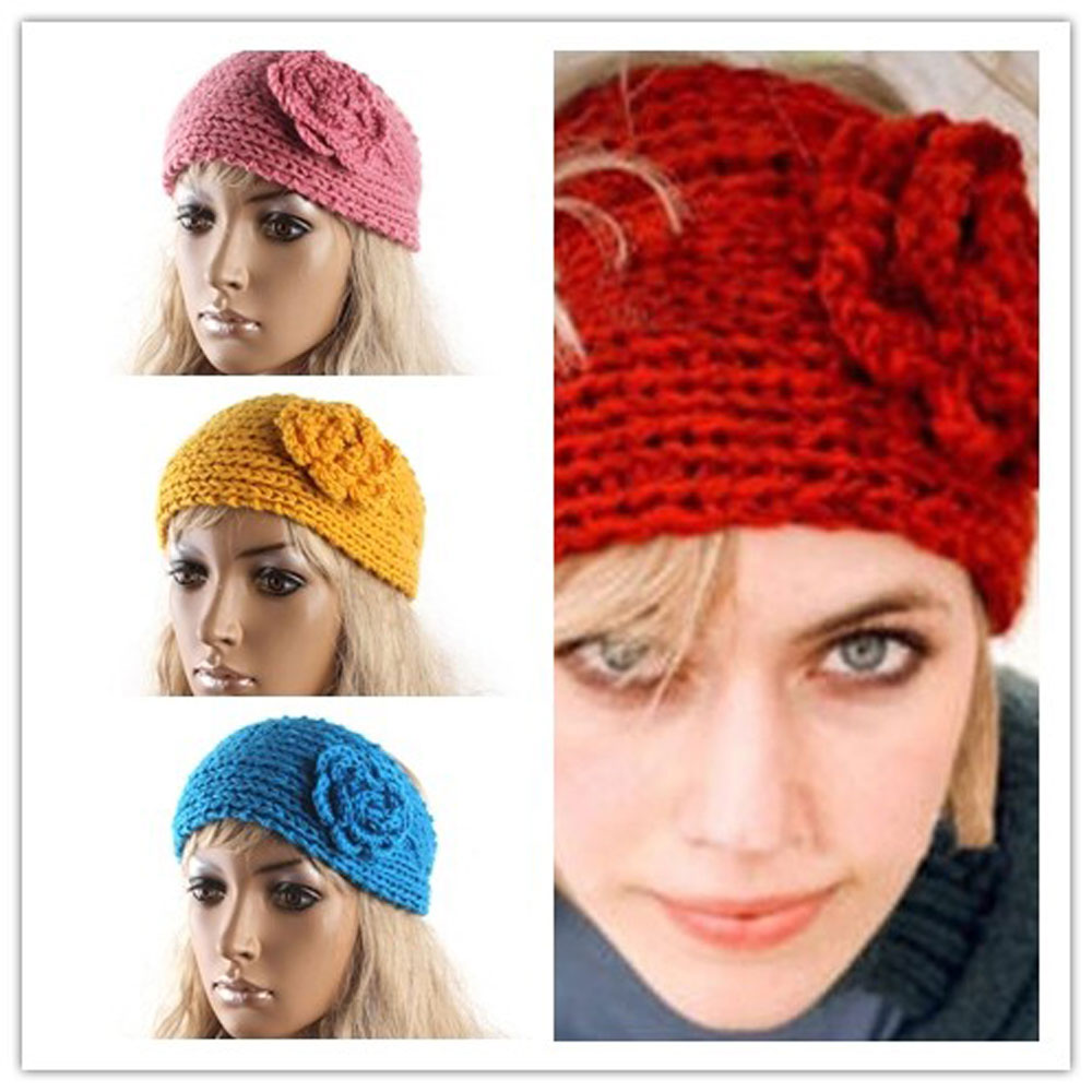 Crochet Turban Headband Ear Warmer Hair Band Knit Knitted Flower Seed Stitched(China (Mainland))