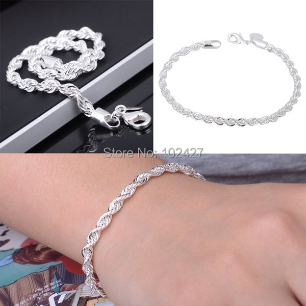 New Wholesale Gift Jewelry Men's Ladies Silver Bracelet/Bangle Chain Twisted Line Bracelet Fashion Jewelry(China (Mainland))