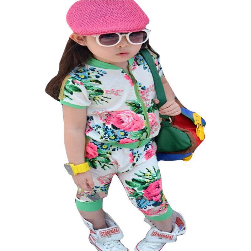 Sale Aones Girls rimmed flower print sport girl clothing sets zipper outerwear haren pants 2pcs summer