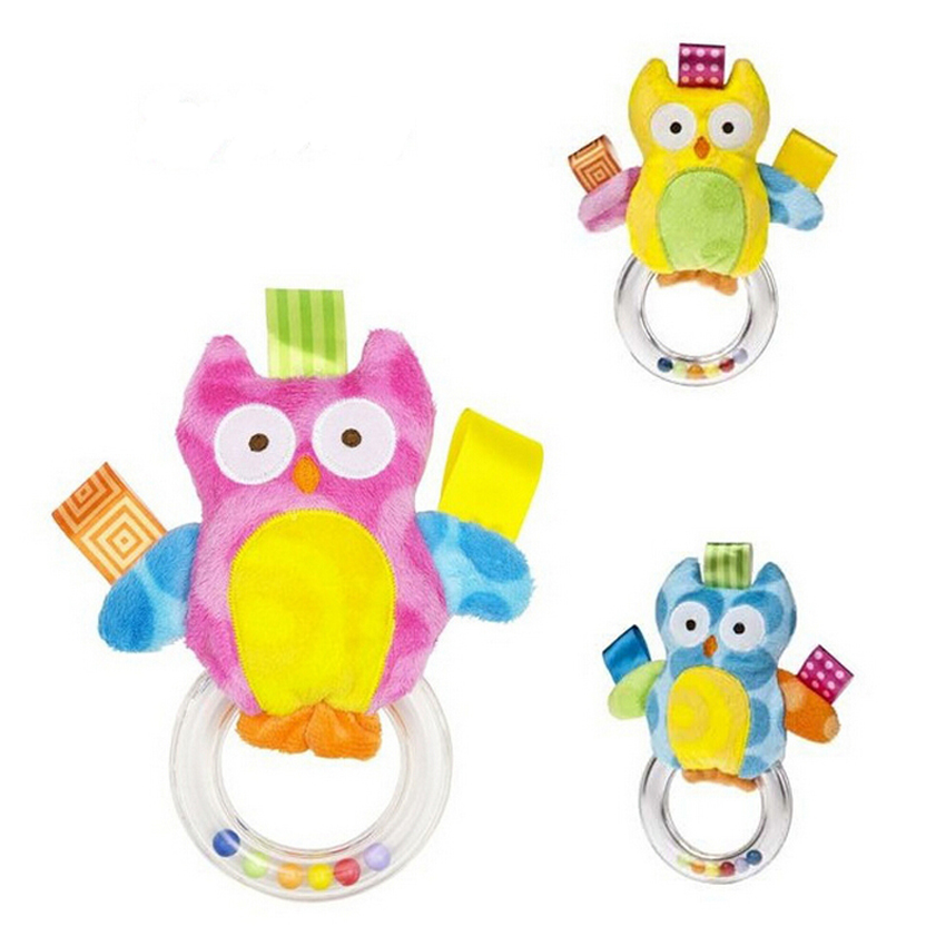 New 1pcs Baby Toys Baby kids owl Rattle Bells Shaking Dumbells Early Development Toys Baby Rattles toys(China (Mainland))