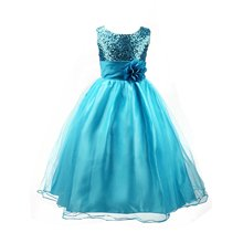 Flower Girls Formal Dress Princess Wedding Party Kids Costume Children Clothing Ball Gown Bridesmaid Tull Sequined Sleeveless(China (Mainland))