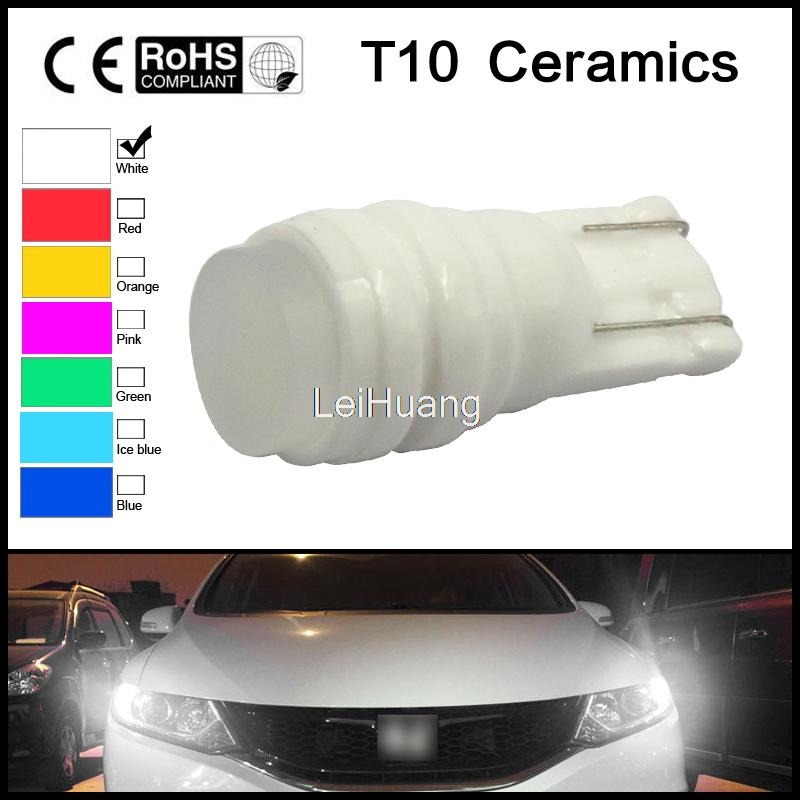 Wholesale T10 W5W 194 168 1.5W Car Auto Ceramic High Power LED Side Wedge Dome Lights License Plate Lamp Bulb 7 colors<br><br>Aliexpress
