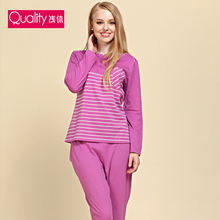 Spring&Autumn Classic Stripe 100%Cotton Women and men Pajama Set  Free Shipping(China (Mainland))