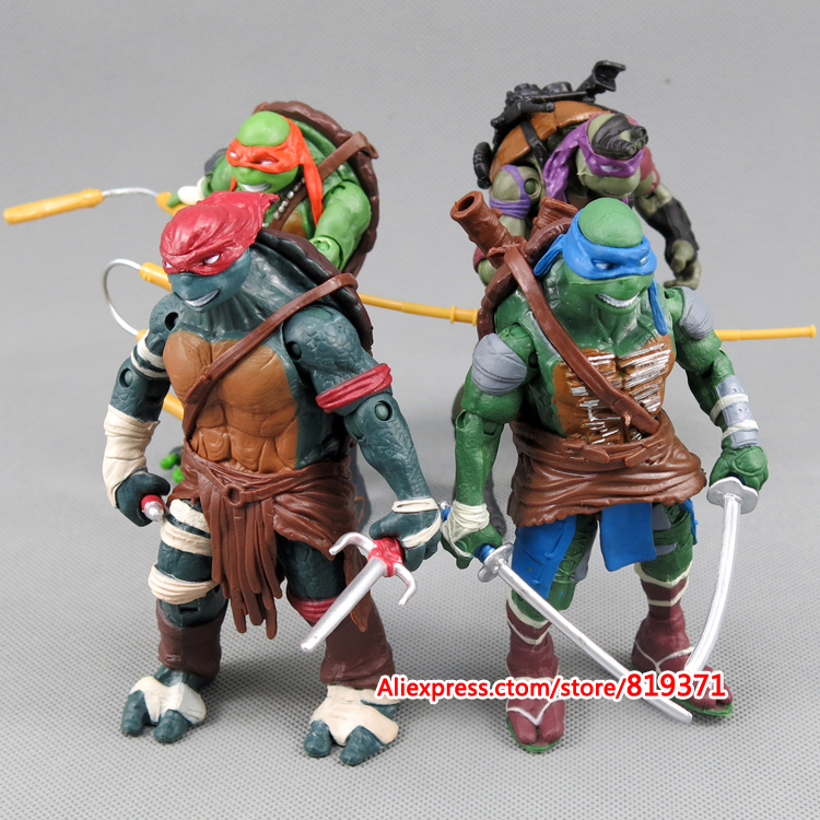 2015 New toys 4 pieces/lot Teenage Mutant Ninja Turtles Action Figure 4 hand-done tmnt Toys Model for the boys Gift Birthday(China (Mainland))