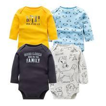4 pçs/lote Bodysuits Do Bebê Manga Longa de Algodão Macio Do Bebê Recém-nascido Conjunto de Roupas de Natal Do Bebê Meninas Meninos Roupas Macacão Infantil(China)