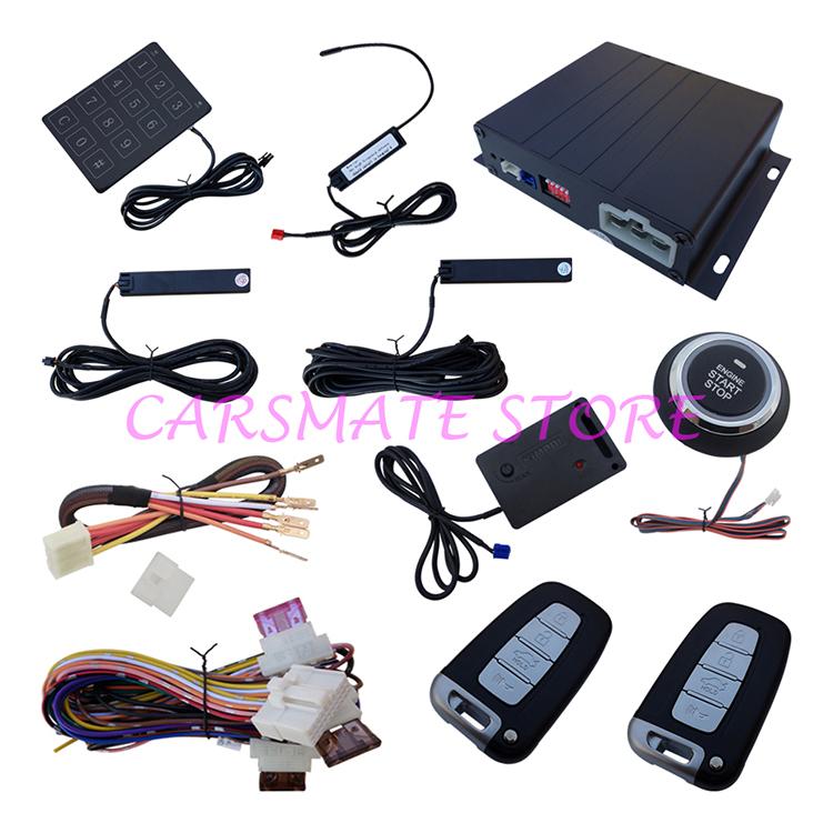 Smartkey PKE Car Alarm System W Shock Sensor Remote Engine Start Push Start Button Passive Keyless Entry Auto Lock & Unlock Door(China (Mainland))
