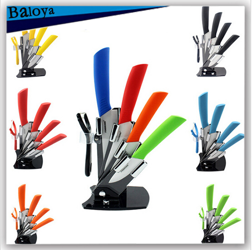 Top quality ceramic knife and accessories set kitchen knife set chef knives 3``4``5``6``inch+ Peeler Acrylic Holder(China (Mainland))