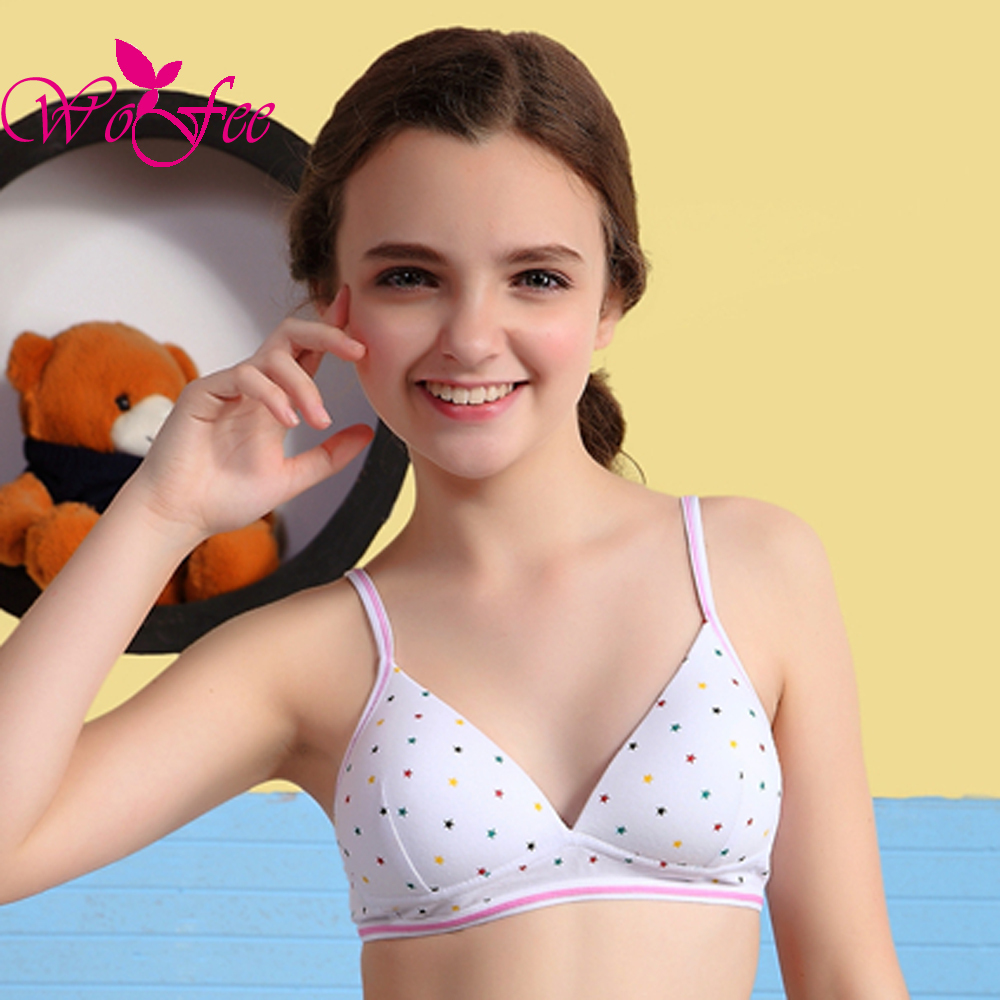 young girl underware WoFee Young Girls Cotton 5/8 Thin Cups Spaghetti Straps Breathable Training Bras Without Rims B0723