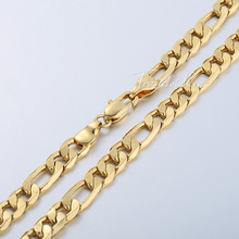 5 6 9 10mm Figaro Link Chain 18K Gold Filled Necklace Men s chain Women necklace
