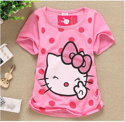 Sale Retail New 2015 Baby Girl Cartoon Hello Kitty Short T Shirt Girl's Cotton Summer T Shirt Kids KT Cat Pink Rose Red T-Shirt(China (Mainland))