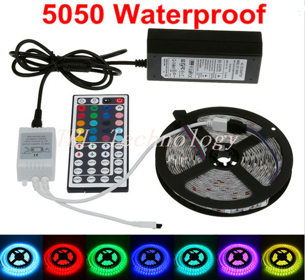 Waterproof RGB Single colour Led Strip SMD 5050 Flexible Light 5M 300led + 44 Key Remote Controller +12V 5A Power Adapter kit(China (Mainland))
