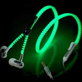 Metal Zipper Luminous Earphones Glow In The Dark Headset Glowing Stereo Bass Sport Running Headset Night