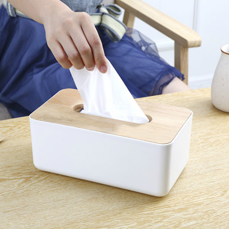 Dispenser With Oak Wooden Cover Paper Home Car Napkins Holder Plastic Tissue Box Home Organizer Decoration(China (Mainland))