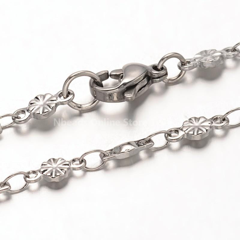 "304 Stainless Steel Bar Link Chains Necklaces, with Lobster Claw Clasps, Stainless Steel Color, 17.5""(China (Mainland))"