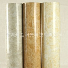 Free Shipping +Light color marble bathroom cabinet furniture renovation foil adhesive wall stickers waterproof wallpaper(China (Mainland))