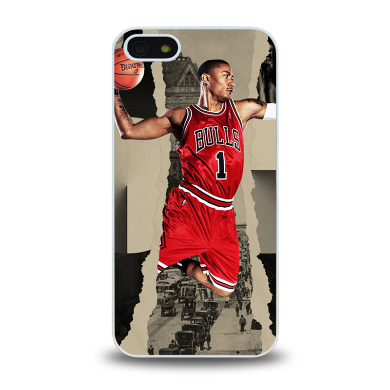 NBA Player Chicago Bull No. 1 Derrick Rose #1 mobile phone battery case cover for iphone 5 5s cases covers plastic phone cases(China (Mainland))