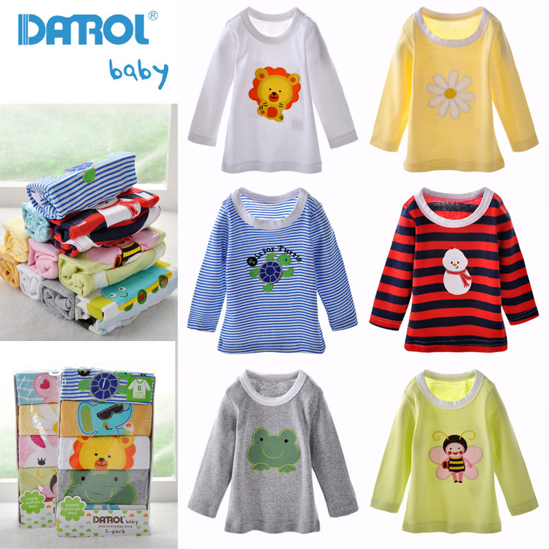 5 Pieces / Lot Cotton Infant Kids Baby T-Shirt DANROL Cartoon Tee Embroidered Round Neck Long Sleeve Baby Boys Girls T Shirt V30(China (Mainland))