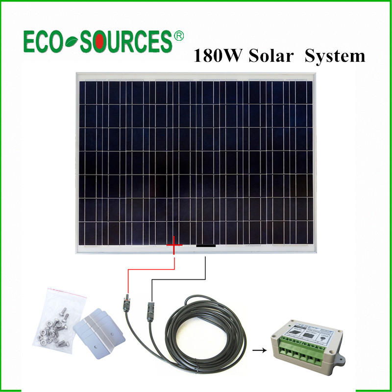 USA Stock No Duty No Tax 180W Watts Polycrystalline Solar Panel Complete Kit: 180W Poly Solar Panel 24V Home Boat Off Grid(China (Mainland))